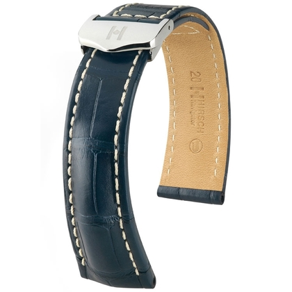 Hirsch Navigator Watch Strap for Breitling Folding Clasp Louisiana Alligator Matte Blue