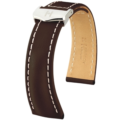 Hirsch Navigator Watch Strap for Breitling Folding Clasp Italian Calf Skin Brown