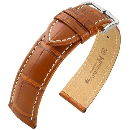 Hirsch Connoisseur Louisiana Alligator Leather Watch Strap Golden Brown Matt