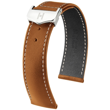 Hirsch Voyager Watch Strap for Omega Folding Clasp Italian Calf Skin Golden Brown White Stitching