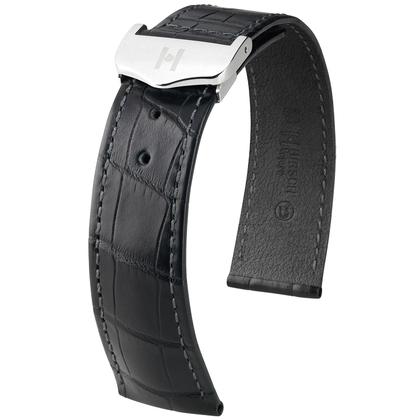 Hirsch Voyager Watch Strap for Omega Folding Clasp Louisiana Alligator Skin Black