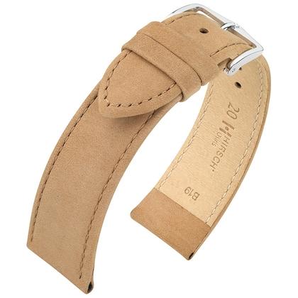 Hirsch Osiris Watch Strap Nubuck Leather Beige