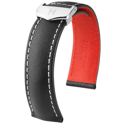 Hirsch Speed Watch Strap for TAG Heuer Folding Clasp Calf Skin Black with White Stitching