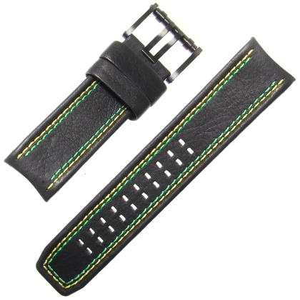 Luminox Tony Kanaan Model 1188 Watch Strap Black Leather Green Yellow Stitching 26mm - FE.1180.20B