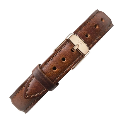 Daniel Wellington 14mm Petite St Mawes Brown Leather Watch Strap Rosegold Buckle