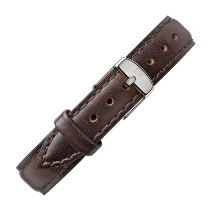 Daniel Wellington 12mm Petite Bristol Dark Brown Leather Watch Strap Stainless Steel Buckle