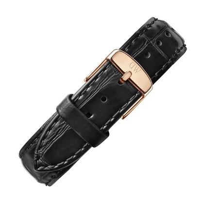 Daniel Wellington 14mm Petite Reading Black Leather Watch Strap Rosegold Buckle