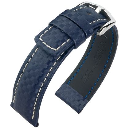 Hirsch Carbon Watch Band 100 m Water-Resistant Blue