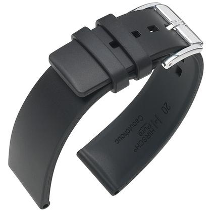 Hirsch Pure Watch Band Caoutchouc Black