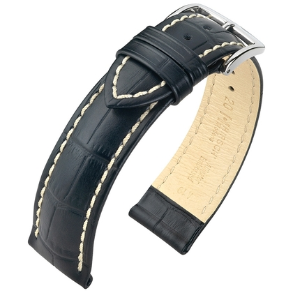 Hirsch Modena Calfskin Watchband Alligatorgrain Black