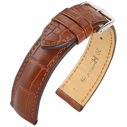 Hirsch Earl Louisiana Alligator Skin Watch Band Semi-Matte Golden Brown