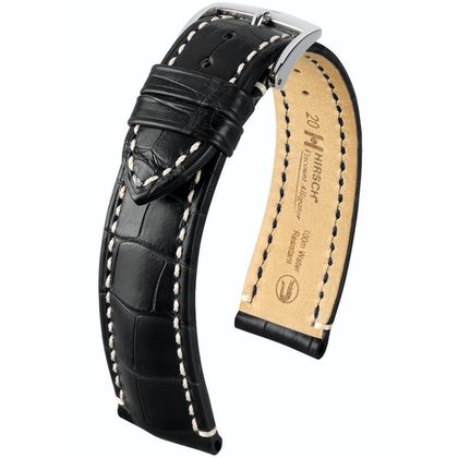 Hirsch Viscount I Louisiana Alligator Skin Watch Band 100m WR Semi-Matte Black