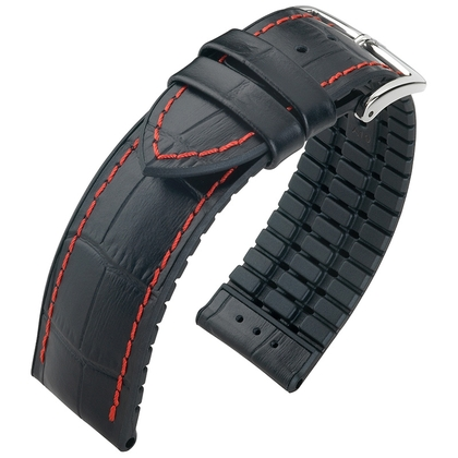 Hirsch George Performance Collection Black Leather/Rubber Red Stichting 300m WR