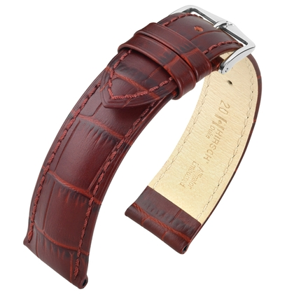 Hirsch Duke Watch Band Alligatorgrain Burgundy Red