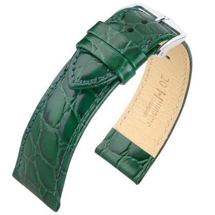 Hirsch Crocograin Watch Band Green