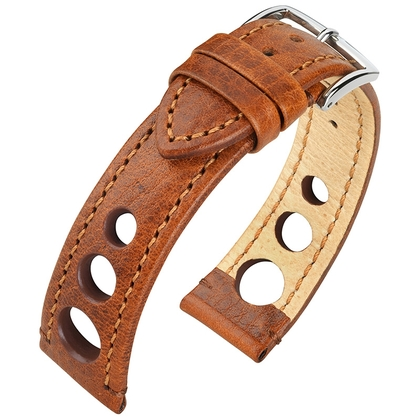 Hirsch Rally Artisan Perforated Watch Band Golden Brown