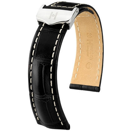 Hirsch Navigator Watch Strap for Breitling Folding Clasp Louisiana Alligator Matte Black