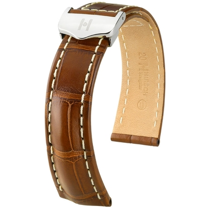 Hirsch Navigator Watch Strap for Breitling Folding Clasp Louisiana Alligator Matte Golden Brown