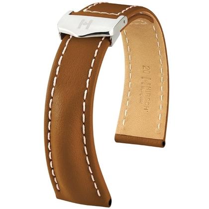 Hirsch Navigator Watch Strap for Breitling Folding Clasp Italian Calf Skin Golden Brown