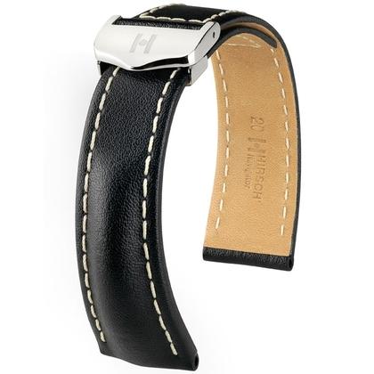Hirsch Navigator Watch Strap for Breitling Folding Clasp Italian Calf Skin Black