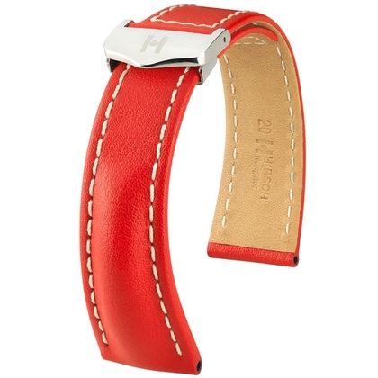 Hirsch Navigator Watch Strap for Breitling Folding Clasp Italian Calf Skin Red