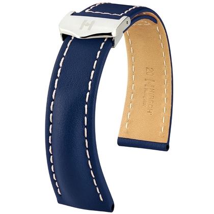 Hirsch Navigator Watch Strap for Breitling Folding Clasp Italian Calf Skin Blue