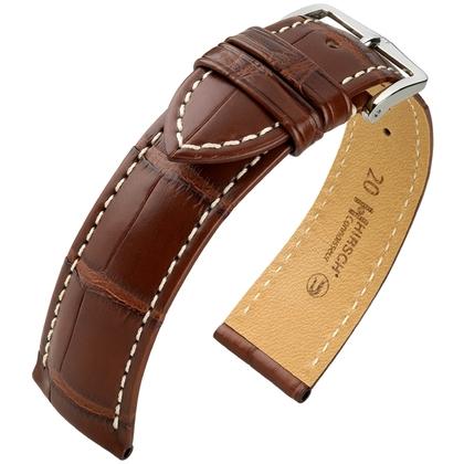 Hirsch Connoisseur Louisiana Alligator Leather Watch Strap Brown Matt