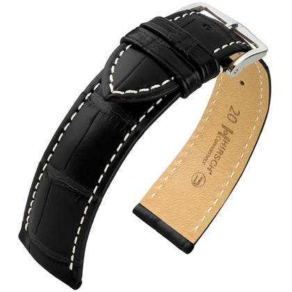 Hirsch Connoisseur Louisiana Alligator Leather Watch Strap Black Matt