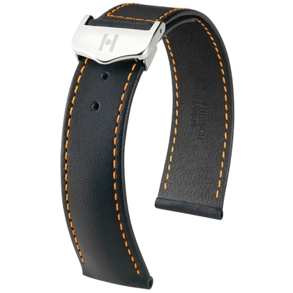 Hirsch Voyager Watch Strap for Omega Folding Clasp Italian Calf Skin Black Orange Stitching
