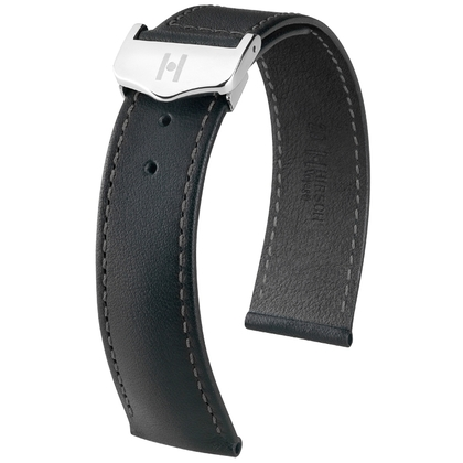 Hirsch Voyager Watch Strap for Omega Folding Clasp Italian Calf Skin Black