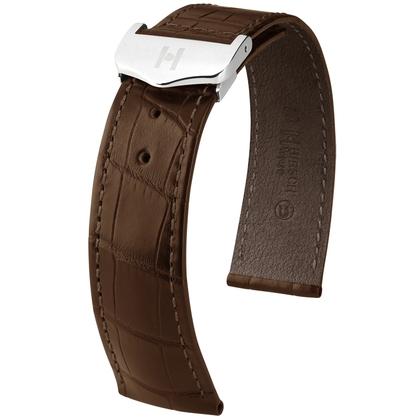 Hirsch Voyager Watch Strap for Omega Folding Clasp Louisiana Alligator Skin Dark Brown