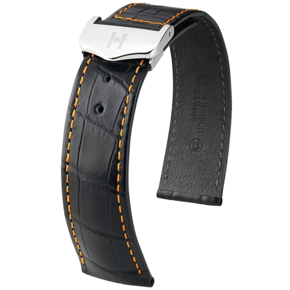 Hirsch Voyager Watch Strap for Omega Folding Clasp Louisiana Alligator Skin Black Orange Stitching