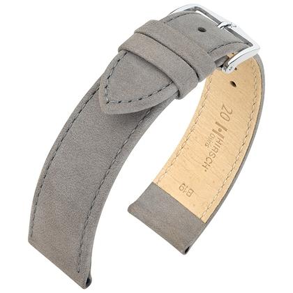 Hirsch Osiris Watch Strap Nubuck Leather Gray