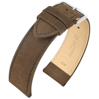 Hirsch Osiris Watch Strap Nubuck Leather Brown