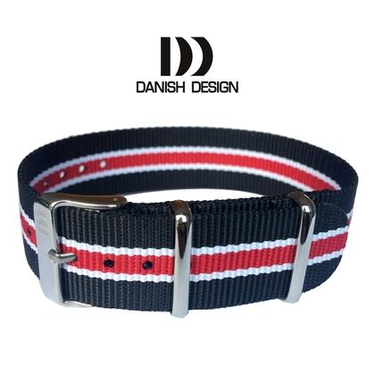 Danish Design Black White Red ZULU NATO Nylon Strap - 20mm