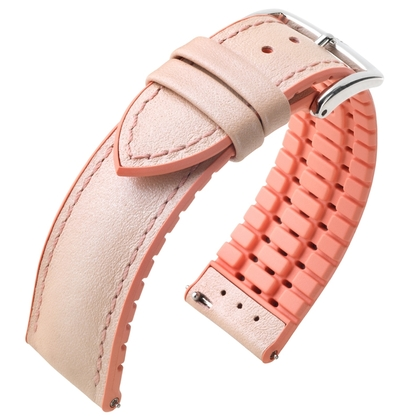 Hirsch Lindsey Performance Watch Strap Pink Leather / Rose Caoutchouc
