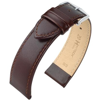 Hirsch Osiris Watch Band Box Leather Dark Brown