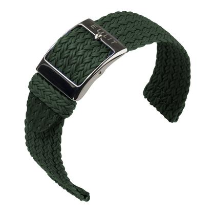 Eulit Two Piece Perlon Watch Strap Palma Pacific Green