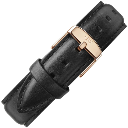 Daniel Wellington 20mm Classic Sheffield Black Leather Watch Strap Rosegold Buckle