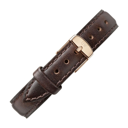 Daniel Wellington 14mm Petite Bristol Dark Brown Leather Watch Strap Rosegold Buckle
