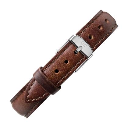 Daniel Wellington 14mm Petite Bristol Dark Brown Leather Watch Strap Stainless Steel Buckle