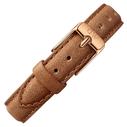 Daniel Wellington 14mm Petite Durham Brown Leather Watch Strap Rosegold Buckle