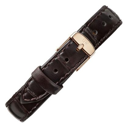 Daniel Wellington 14mm Petite York Dark Brown Leather Watch Strap Rosegold Buckle
