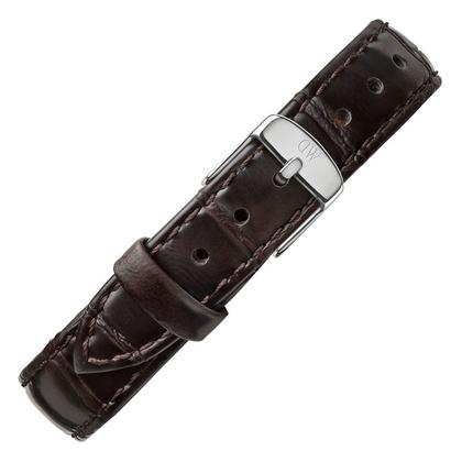Daniel Wellington 14mm Petite York Dark Brown Leather Watch Strap Stainless Steel Buckle