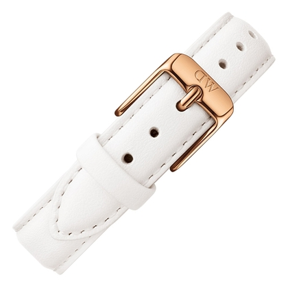 Daniel Wellington 12mm Petite Bondi White Leather Watch Strap Rosegold Buckle