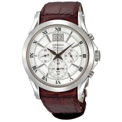 Seiko Premier Watch Strap SPC059P1 Brown Leather