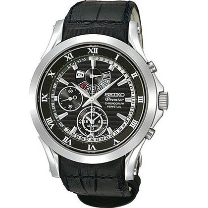 Seiko Premier Watch Strap SPC053P1 Black Leather