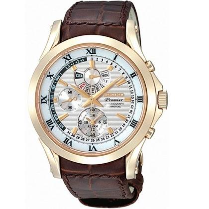 Seiko Premier Watch Strap SPC054P1 Brown Leather
