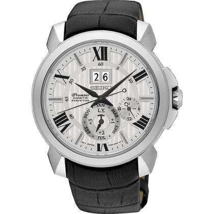 Seiko Premier Watch Strap SNQ143P1 Black Leather