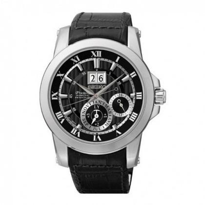 Seiko Premier Watch Strap SNP093P2 Black Leather